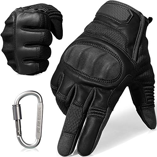 AXBXCX Tactical Gloves Military Motorcycle Touch Screen Plastic Hard Knuckle Full Finger Outdoor Gloves for Combat Training Army Shooting Motorbike Hunting Airsoft Paintball Black L