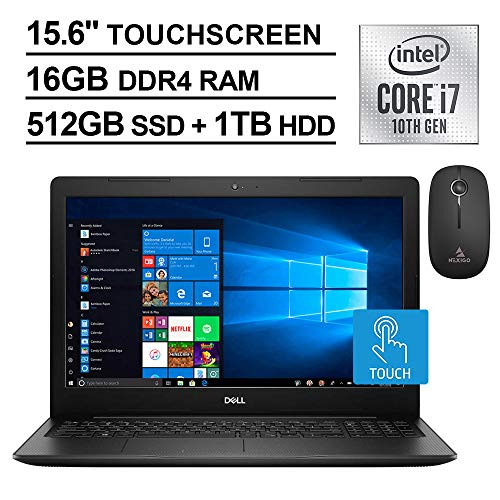 2020 Dell Inspiron 15 3000 FHD 1080P Touchscreen Laptop with Webcam, Intel 4-Core i7-1065G7 up to 3.9 GHz, 16GB RAM, 512GB SSD (Boot) +1TB HDD, Windows 10 + NexiGo Wireless Mouse Bundle