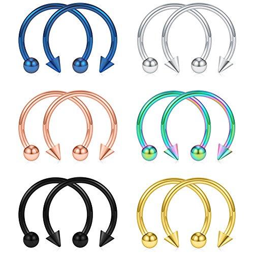 SCERRING 12PCS 316L Stainless Steel 16G Circular Barbells Eyebrow Lip Ear Tragus Horseshoe Hoop Rings With Balls & Spikes (Nipple Circular Barbell Ring)