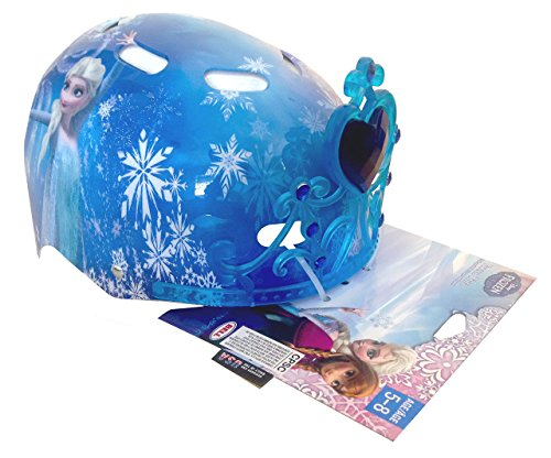 Bell Sports Disney Frozen Youth Child Hardshell Multi Sport 3D Safety Helmet Cooling Vents Removable Tiara Blue Youth Child 5-8