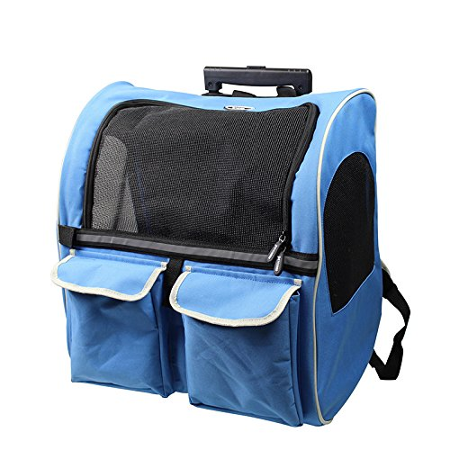 Pet Carrier Pet-Double Trolley Trolley Tasche Pet aus dem Rucksack Portable Hund Teddy, Blue Queen, weniger als 11 Kg