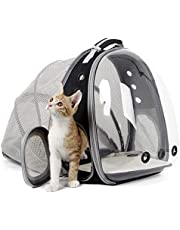Expandable Cat Carrier Backpacks, Space Capsule Bubble Pet Carrier Backpack for Small Dog, Cat Carrying Backpack with Transprent Hard Window (Black, Expandable)