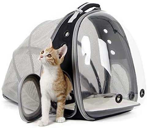halinfer Back Expandable Cat Backpack, Space Capsule Transparent Pet Carrier for Small Dog, Pet Carrying Hiking Traveling Backpack