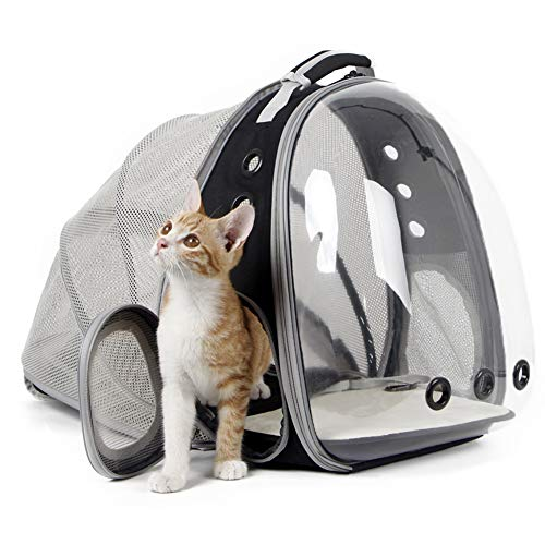halinfer Expandable Cat Backpacks, Space Capsule Clear Bubble Cat Carrier Backpacks for Small Dog, Pet Carrying Carrier Backpack