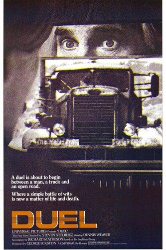 Duel classic Spielberg 1971 movie 24x36 poster Dennis Weaver & Peterbilt 281 tanker truck (1971 Poster Print)