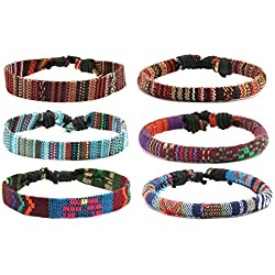 HZMAN Mix 6 Wrap Bracelets Men Women, Hemp Cords Ethnic Tribal Bracelets Wristbands (Mix 6 Wrap)