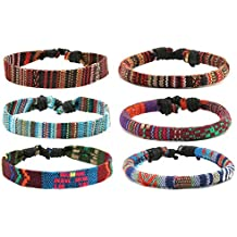 HZMAN Mix 6 Wrap Bracelets Men Women, Hemp Cords Ethnic Tribal Bracelets Wristbands