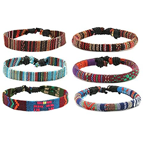 HZMAN Mix 6 Wrap Bracelets Men Women, Hemp Cords Ethnic Tribal Bracelets Wristbands (Mix 6 Wrap) - Bracelets