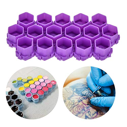 200Pcs Hot Sale multiple colour Tattoo Ink Cups,Honeycomb Shape Pigment Holder Cups,Permanent Makeup Supplies Small Pigment Container Tattoo Accessories Supplies of Body Art Ink (Purple) -