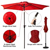 9 FT Patio Umbrella, Outdoor Market Umbrella with Push Button Tilt and Crank, 6 Ribs, Red Review