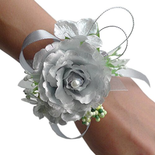 Arlai Wrist Corsage wristband Roses Wrist Corsage for Prom, Party, Wedding Silver (Corsages For Prom)