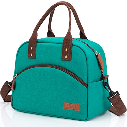 Insulated Lunch Box Bag with Detachable Shoulder Strap & Carry Handle,Leak Proof Reusable Lunch bag, Eco-friendly Cooler Bag,School Lunch Box for Kids,Men,Women(Green)