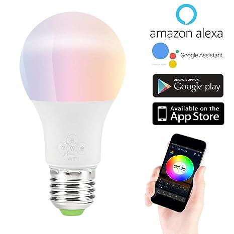 SQUAREDO - Bombilla LED Inteligente, luz de Despertador, WiFi, Funciona con Alexa y