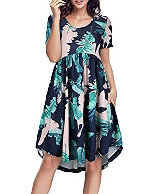 II ININ Women's Round Neck Short Sleeve Loose Swing Casual Midi Dress with Pocket