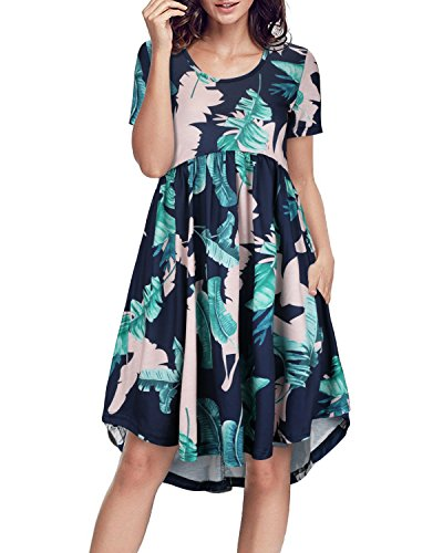 with Sleeve ININ 2 Women's Swing Pocket Floral Casual Dress II Round Midi Loose Short Neck nPgHgqWS