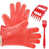 3 beer bbq rub - Best 3 x No.1 Set Silicone BBQ Cooking Grill Gloves, 2 Grill Meat Shredders, 1 BBQ silicone brush, Superior Value Premium for Cooking, Grilling, Baking and Barbecue FDA Approved(Red Set)
