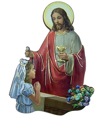 - First Holy Communion Magnet with Jesus and Girl, 2 1/2 Inches