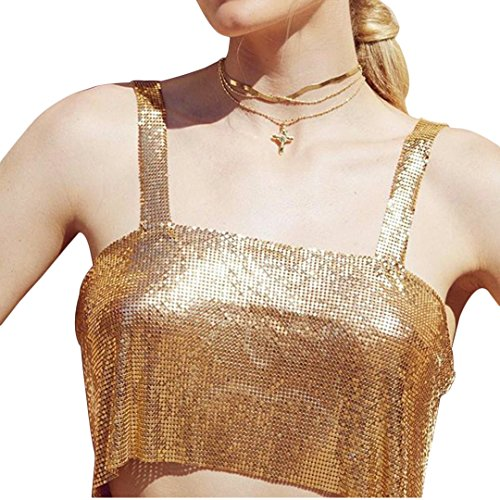 Naimo Women Sexy Shiny Chain Metal Sequin Blouse Vest Crop Top Sleeveless T-Shirt (Gold) - Top Gold Chain