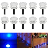 FVTLED Low Voltage LED Deck Light Waterproof Outdoor Garden Yard Decor Lamps Recessed Wood Decking Stair Landscape Pathway LED Step Lighting (10pcs, Blue)