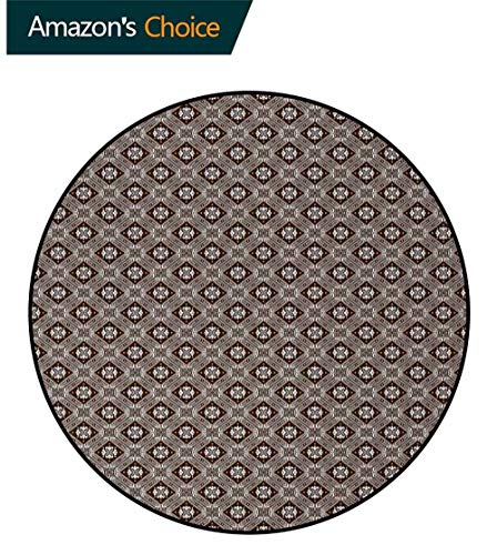 Ukrainian Rug Round Home Decor Area Rugs,Eastern European Timeless Pattern with Geometric Design and Floral Inspirations Non-Skid Bath Mat Living Room/Bedroom Carpet Diameter-51 Inch,Brown White ()