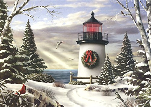 Color Inside Red Lighthouse Stationery Paper (52328-18) (Lighthouse Christmas Cards)