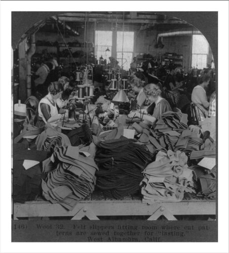 Historic Print (L): Felt slippers fitting room where cut patterns are sewed t...