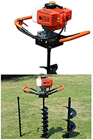 Air Cooled 2 Stroke Post Hole Digger Earth Auger Pro Fence Post Hole Borer Industry-Standard Recoil System 52cc Petrol Gas Powered Earth Auger Post Hole Digger Borer Ground Drill 3 Bits Extension