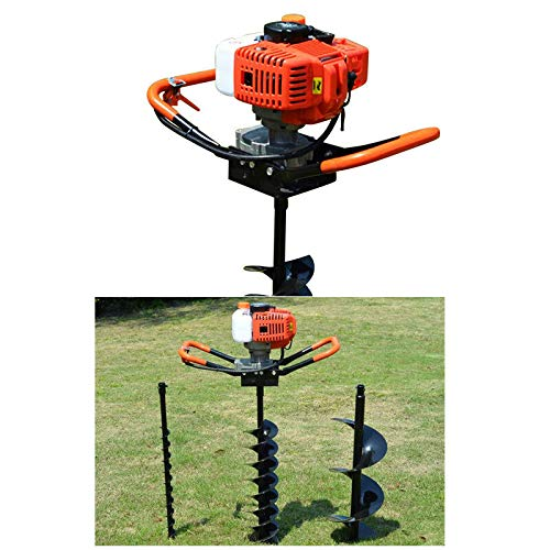 "52cc 2-Stroke 2.4HP Gas Powered Post Hole Digger Borer Ground Fence Drill Single Cylinder Drill + 4"" 6"" 8"" Bits (2.4HP)"
