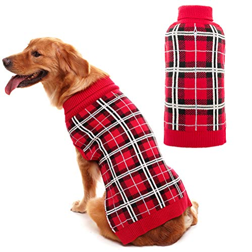 PUPTECK Classic Plaid Style Dog Sweater - Puppy Festive Winter Clothes Red Large ()