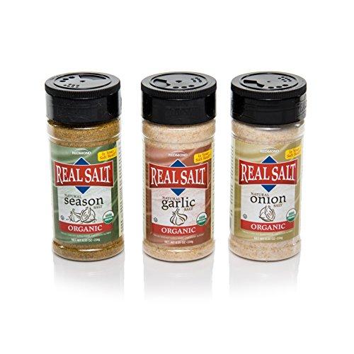 Redmond Real Sea Salt - Natural Unrefined Organic Gluten Free, Seasoning 8.25 Ounce Shaker bundle (Onion, Season, Garlic) by REDMOND