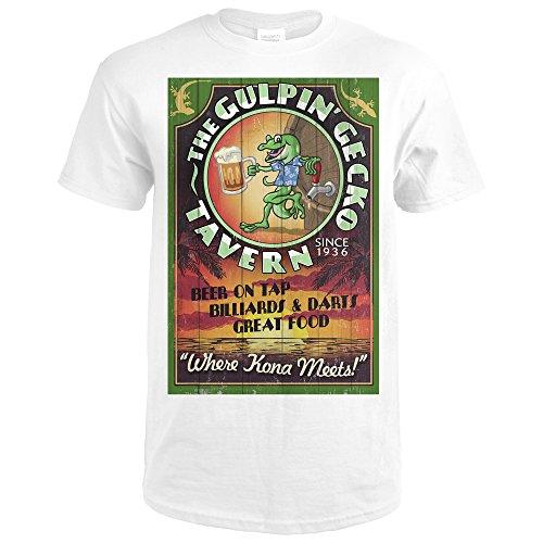Kona, Hawaii - Gecko Tavern Vintage Sign (Premium White T-Shirt Large) (Gecko Hawaii)