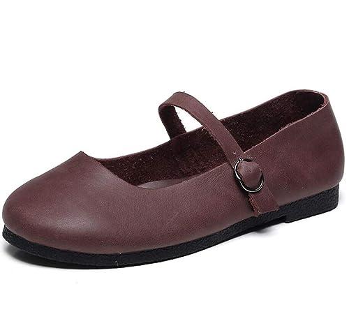 Zapatos de Mujer Retro Mocasines Hechos a Mano Hebilla Plana del talón Mary Jane Shoes: Amazon.es: Zapatos y complementos