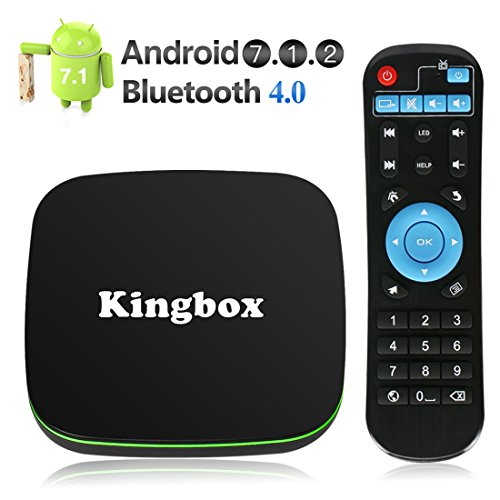 Kingbox Android TV Box, K1 Android 7.1 Box Supporting 4K (60Hz) Full HDMI / H.265 / Bluetooth 4.0 / WiFi 2.4GHz Android Smart TV Box [2018 Version]