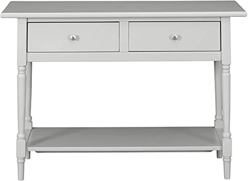MUSEHOMEINC Wood Classic Console Table,with 2-Drawers and 1- Shelf,Modern Turned Wood Leg,Round Metal knobs,Grey Finish