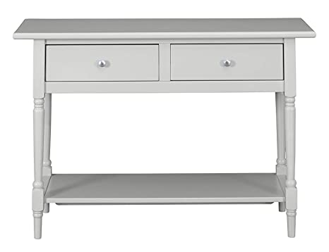 Phenomenal Musehomeinc Wood Classic Console Table With 2 Drawers And 1 Shelf Modern Turned Wood Leg Round Metal Knobs Grey Finish Gmtry Best Dining Table And Chair Ideas Images Gmtryco