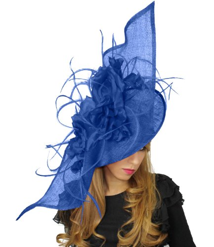 91 Royal Blue Cm Ascot Di Diametro Piume Seta Cappello In Sinamay 40 Ca Fascinator Grande Elisaveta E Z5qHAwn
