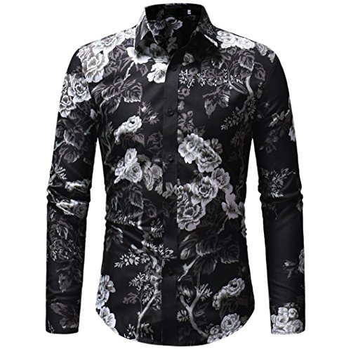 Men's Fashion Casual Floral Print Long Sleeve Button Down T-shirt Top Blouse -