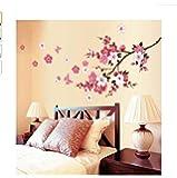 Adesivi Murali Fiori di Ciliegio Stickers Art Muri in Camera da letto Dormitorio e Soggiorno Decorazione Parete