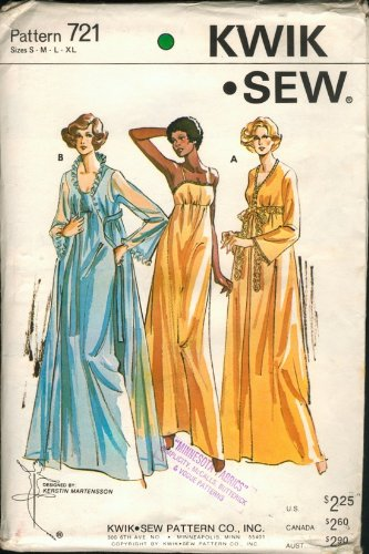 Kwik Sew 721 Ladies Nightgown and Peignoir Vintage Sewing Pattern Designed for Stretch Knits - Vintage Nightgown Patterns