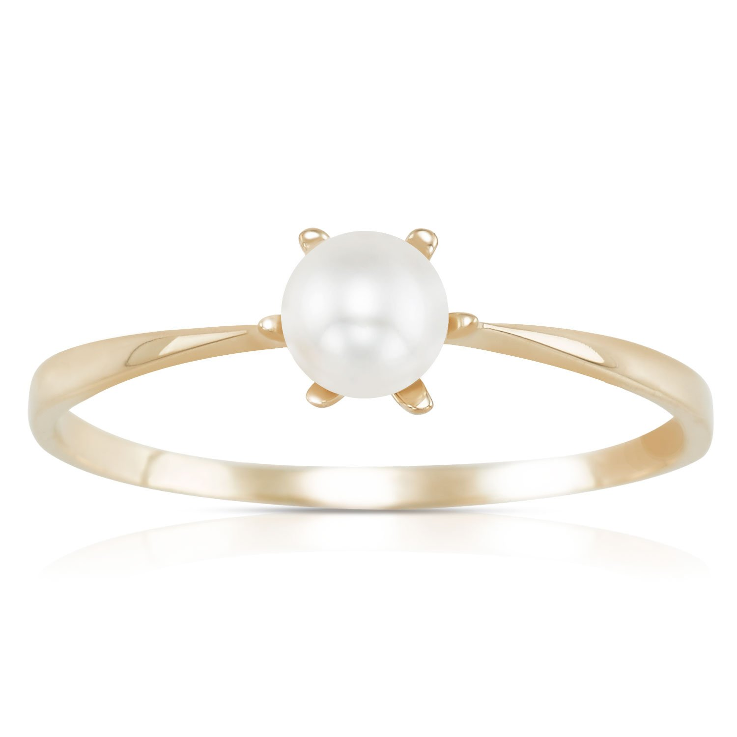 14K Yellow Gold Thin Petite Six Prong Synthetic Pearl Center Stackable Ring For Women and Girls (7)
