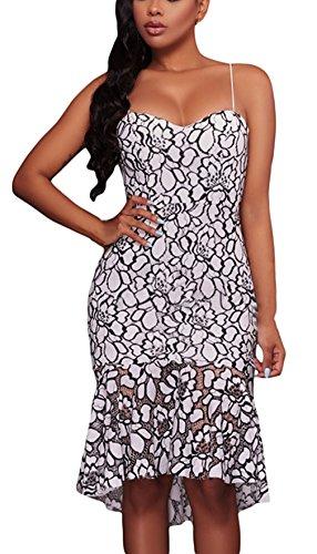 La vogue Damen Cocktail-Abendkleid Trägerkleid mit Blumenmuster Sommerkleid