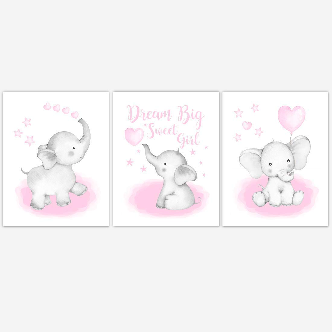 Watercolor Pink Elephant With Balloon Baby Girl Nursery Art Wall Decor 3 UNFRAMED PRINTS