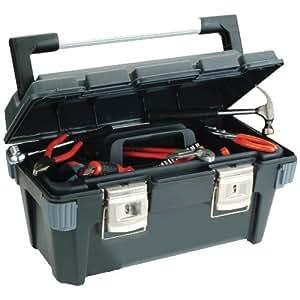 Uniqat 811643 - Caja de herramientas (sin herramientas, asa robusta de aluminio, 2 cierres), color negro