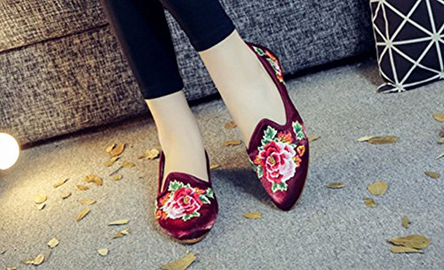 Embroidery Peony Dress Shoes Red Womens Casual Painting Ink Wine Flat AvaCostume XfR1w