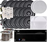 8-room In-Ceiling 5.25'' Speaker System, 8-Channel Amplifier, (16) 5.25'' Speakers, 8 Volume Controls, 1000 FT Wire