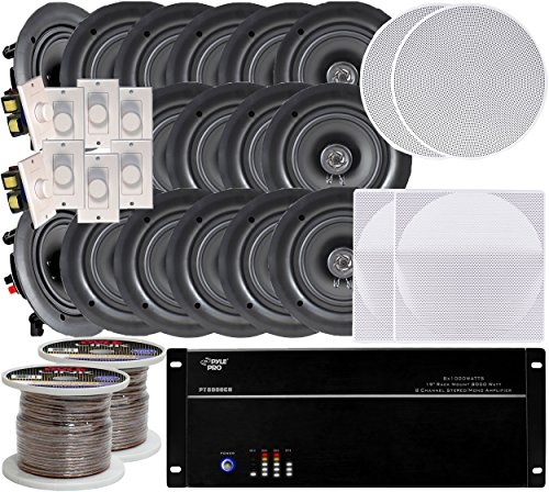 8-room In-Ceiling 5.25'' Speaker System, 8-Channel Amplifier, (16) 5.25'' Speakers, 8 Volume Controls, 1000 FT Wire by Pyle