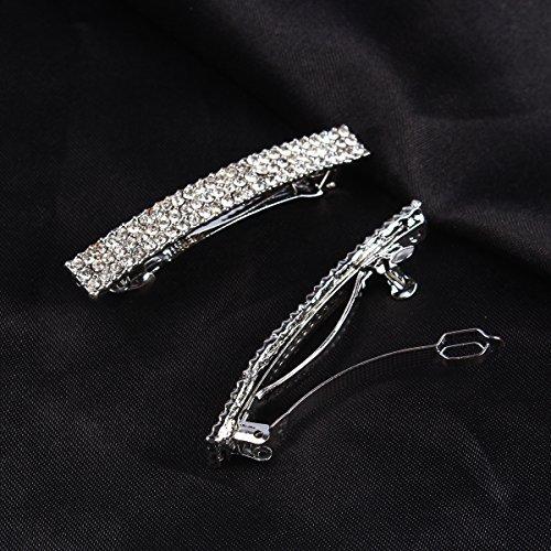 Bling Silver Plated Crystal Hairpin Three Row Rhinestone Hair Barrette Clip Hair -