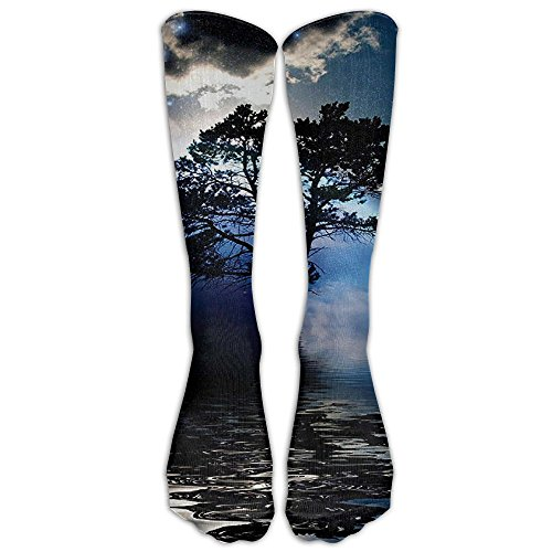 Long Water Night View Dark Clouds Stars Moonlight Socks Women's Winter Vintage Cotton Wool Knit Long Crew (Rays Classic Wool)