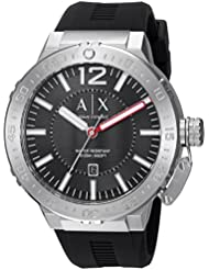 Armani Exchange Mens AX1810 Stainless Steel Black Silicone Watch