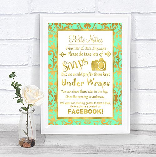 Mint Green And Gold Please Dont Post Photos Facebook Personalized Wedding Sign